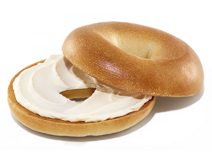 A plain bagel with cream cheese