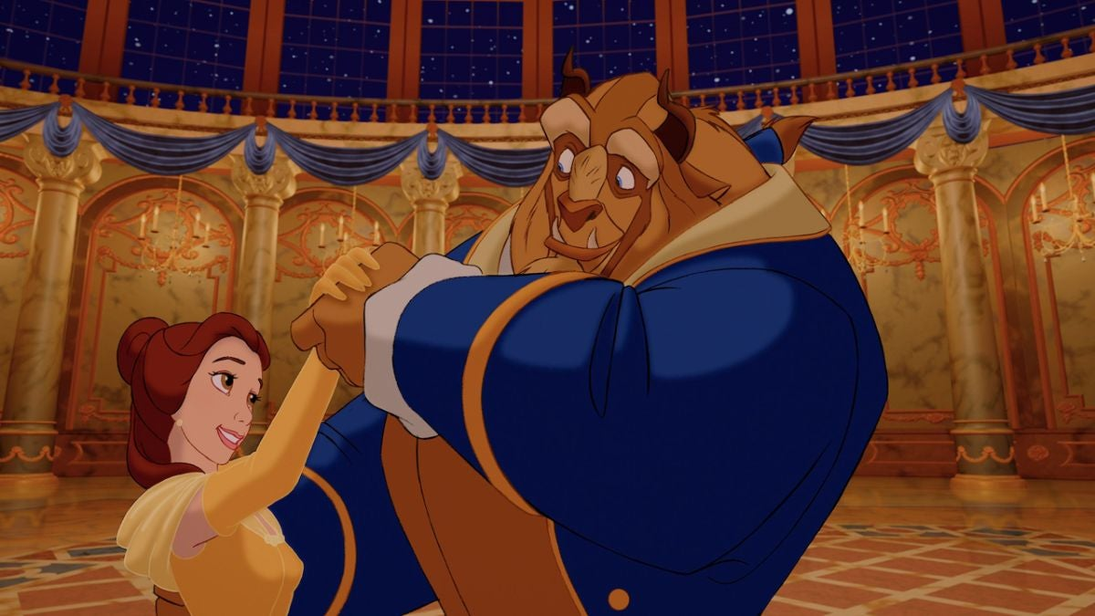 Belle and the Beast dance in the ballroom