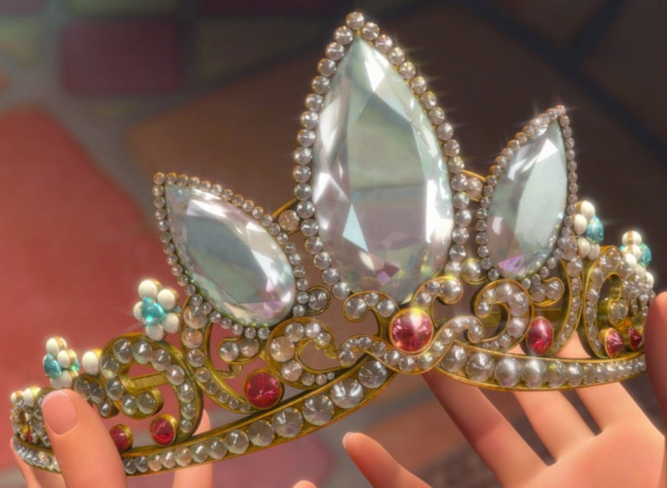 Rapunzel's crown, gold and covered in large white gems