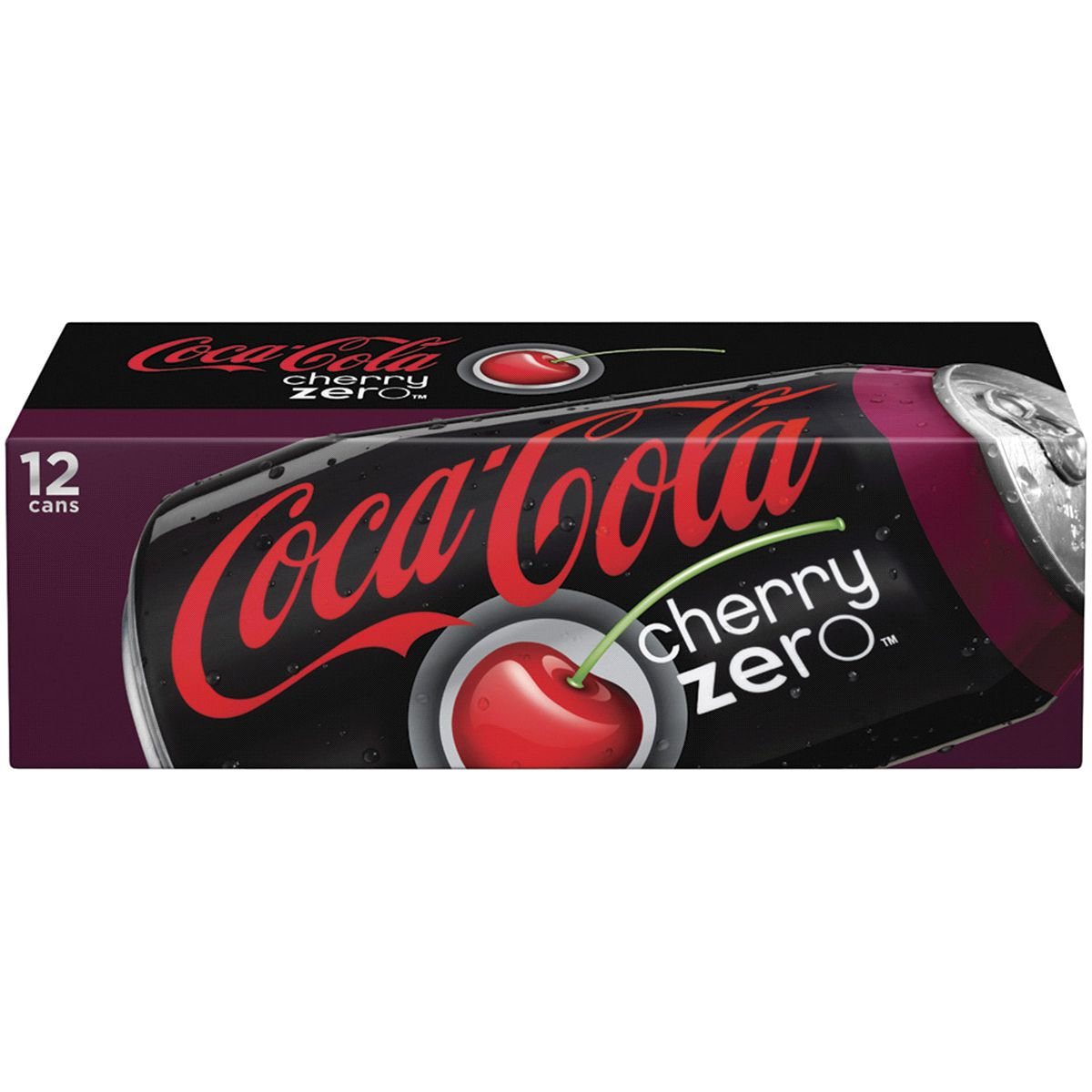 A box of cherry-flavored coca-cola cans