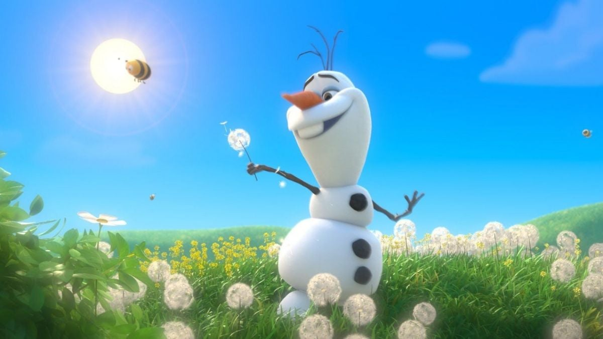 Olaf picks a dandelion and walks through a meadow