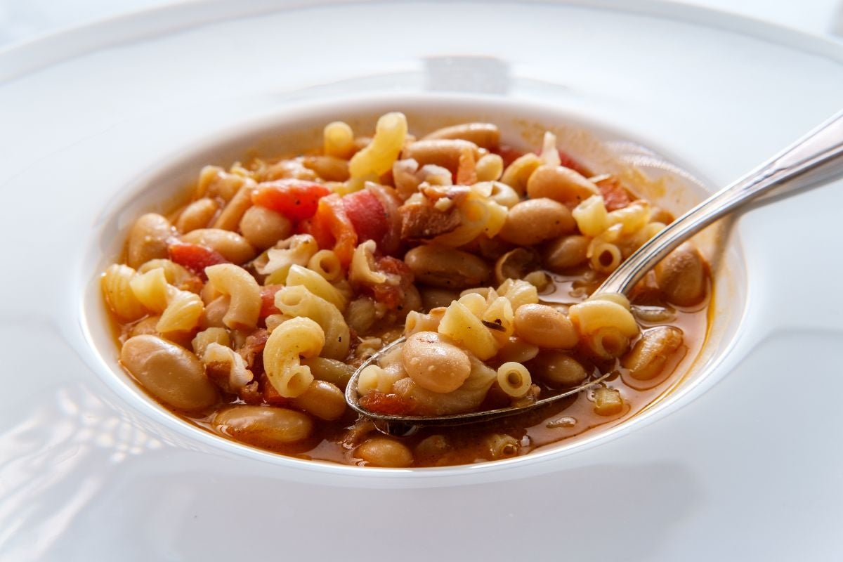 soup with noodles, various beans, and tomatoes