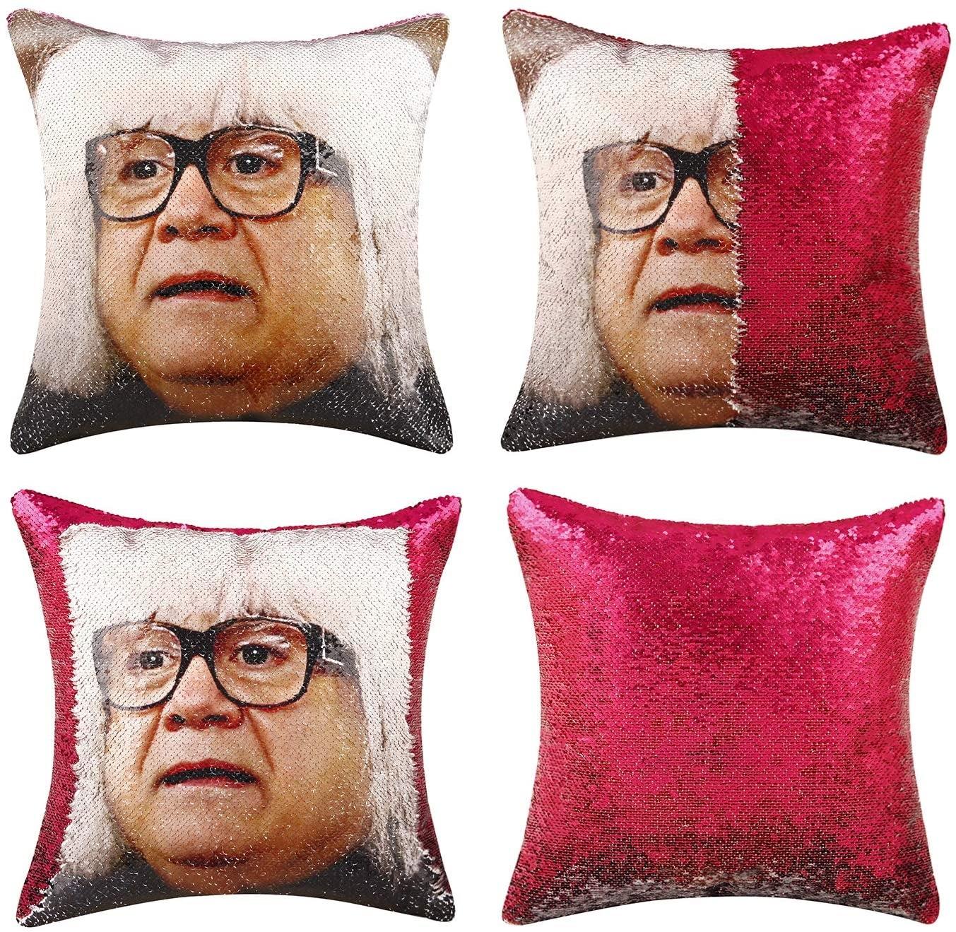 sequin pillow of Danny Devito