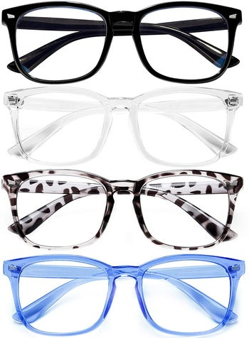 the glasses in black, clear, tortoise, and blue