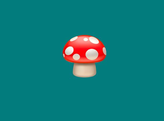 A mushroom with a polkadot pattern
