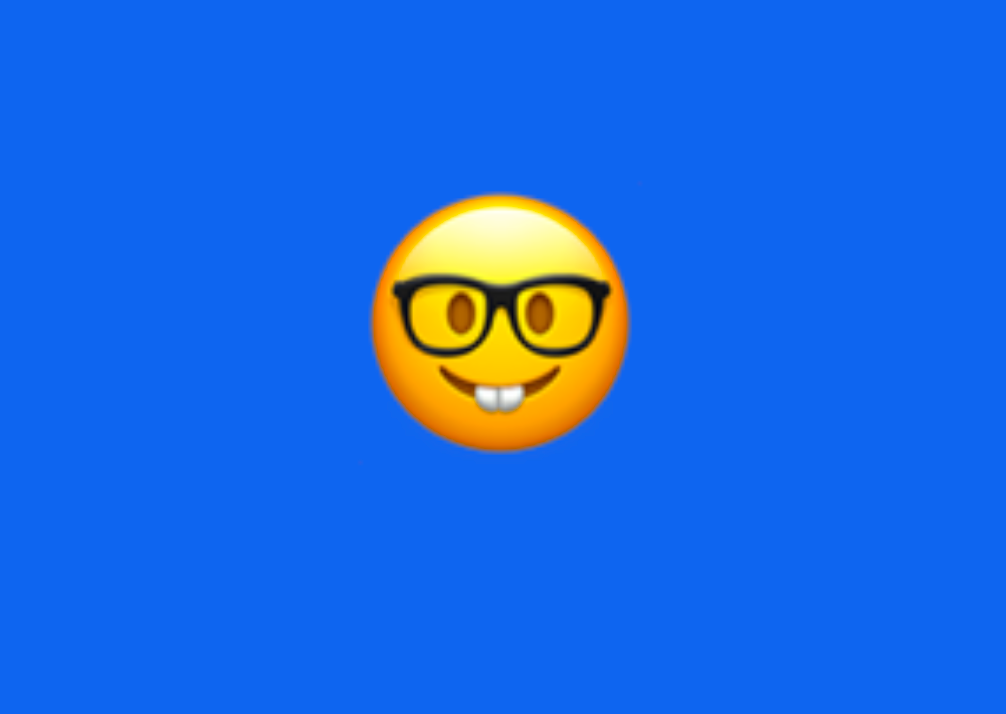 An emoji with glasses and buck teeth