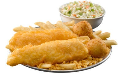 Served with fries, hush puppies, and coleslaw
