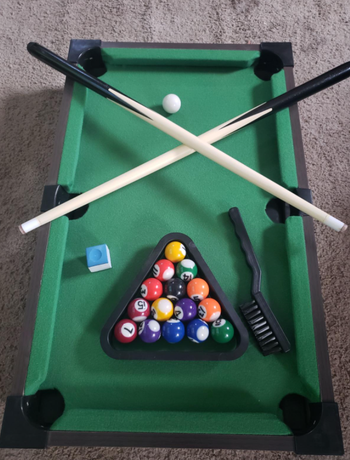 the pool table set up