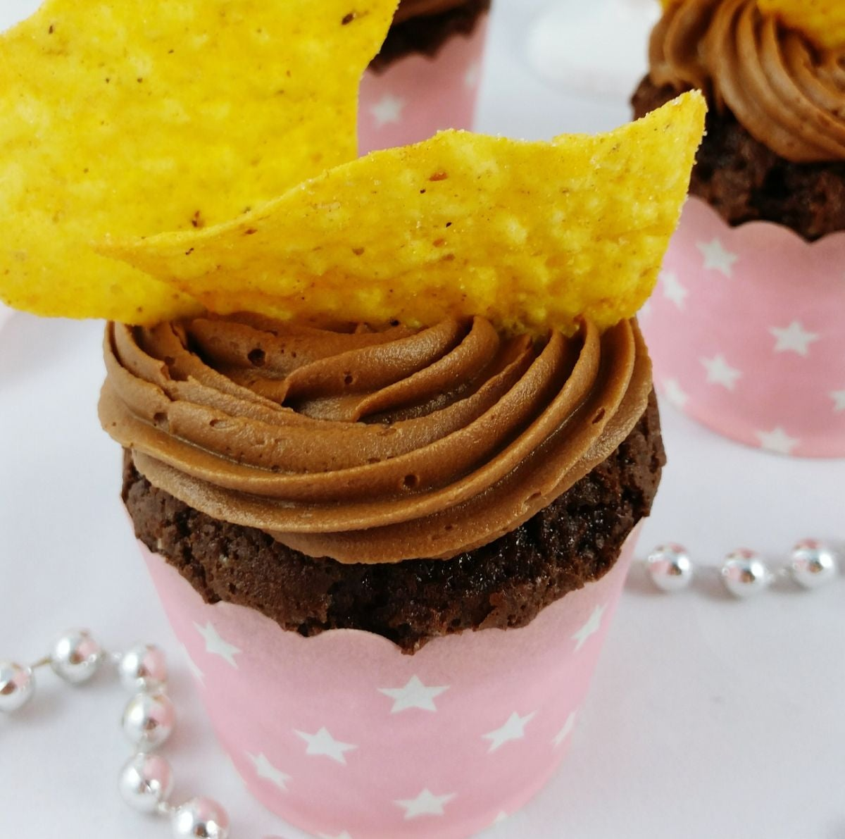 Chocolate cupcakes with a Dorito on top