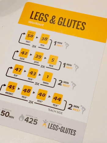 reviewer image of one of the cards with exercises for legs and glutes
