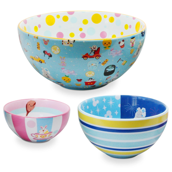 the three different sized bowls with disney illustrations on them