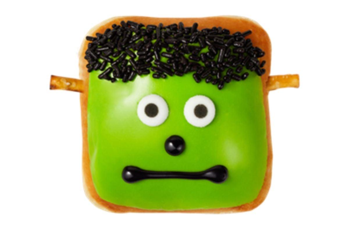 A square donut that looks like Frankenstein's monster