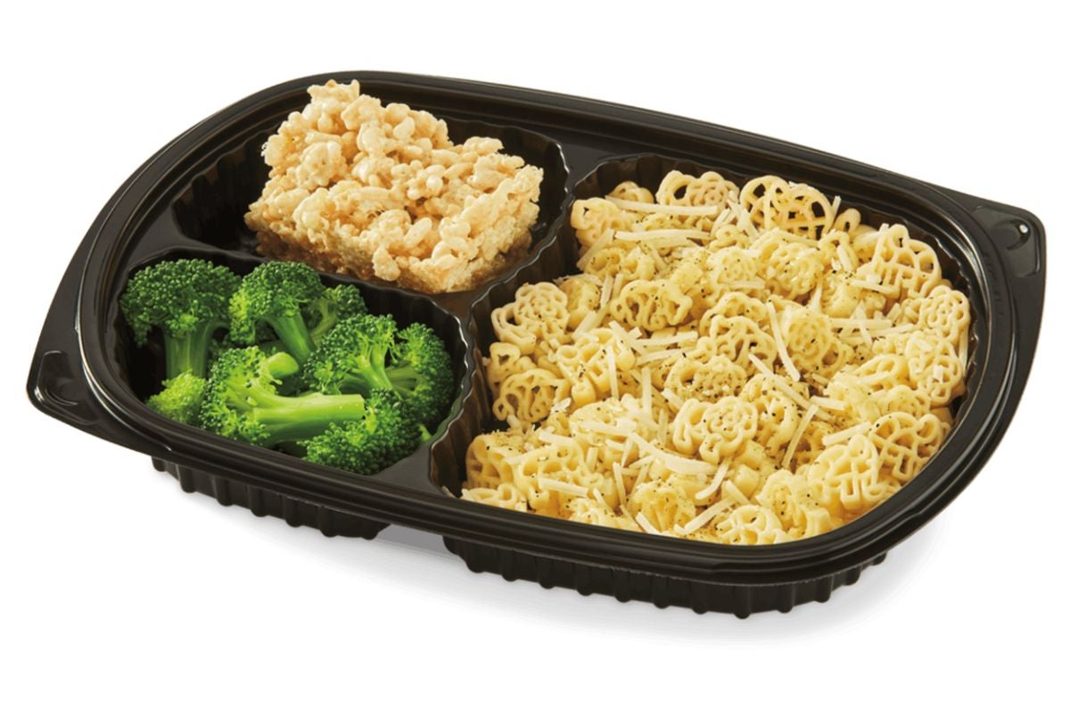 Buttered noodles with a side of steamed broccoli and a Rice Krispies treat