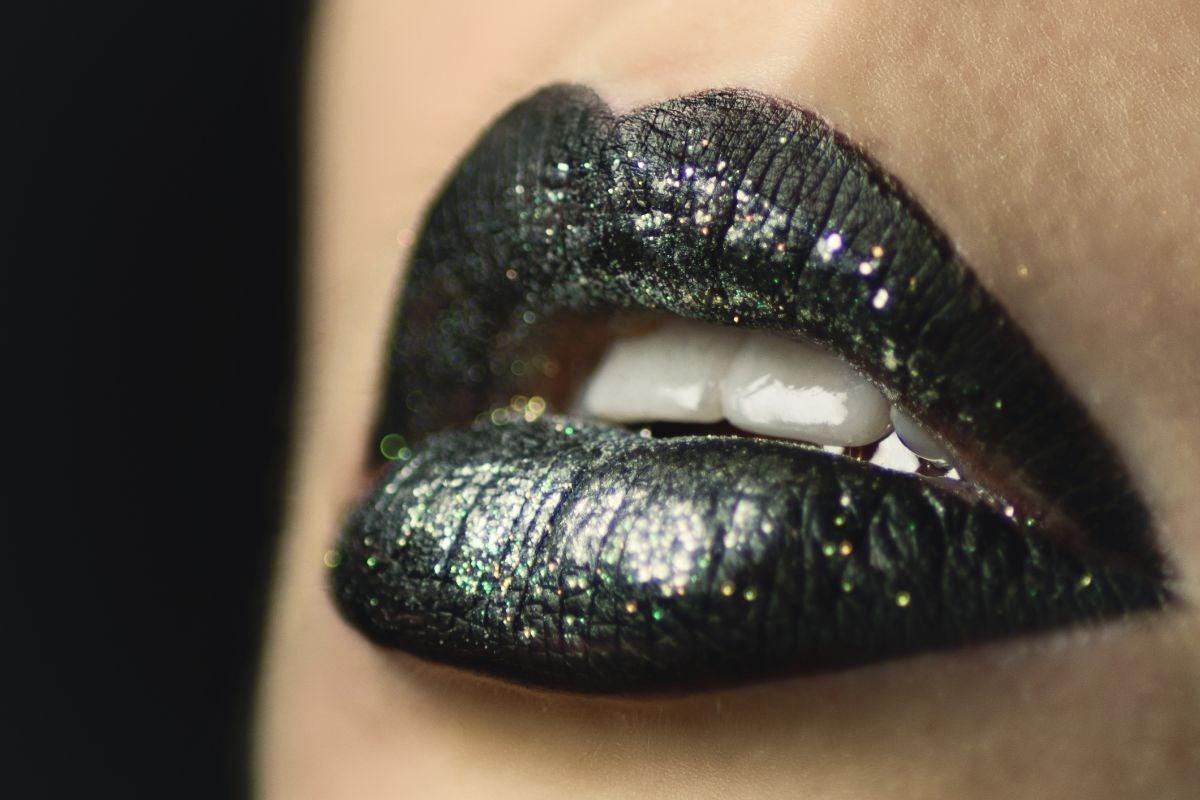 Black, shimmery lipstick