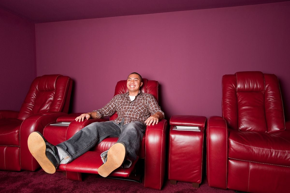 Reclining red leather chairs