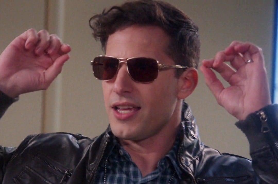 Jake puts on sunglasses
