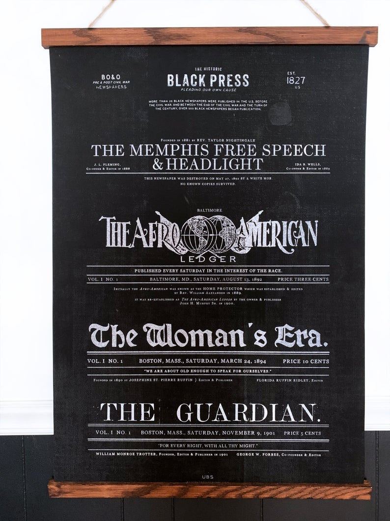 An art scroll with various newspaper titles from 1881 to 1901