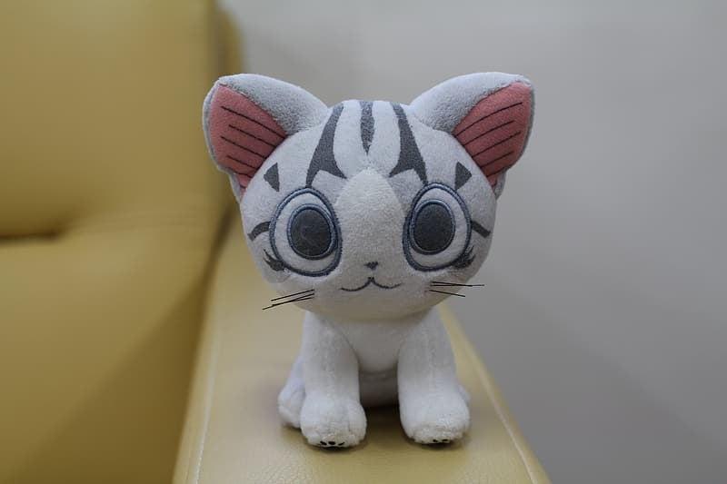Gray striped cat plushie