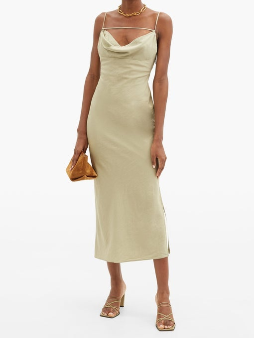 A long dress with a cowl neck