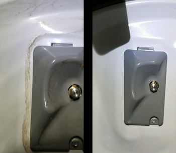 a before and after of a dirt stain on the back of a reviewer's washer then the stain gone