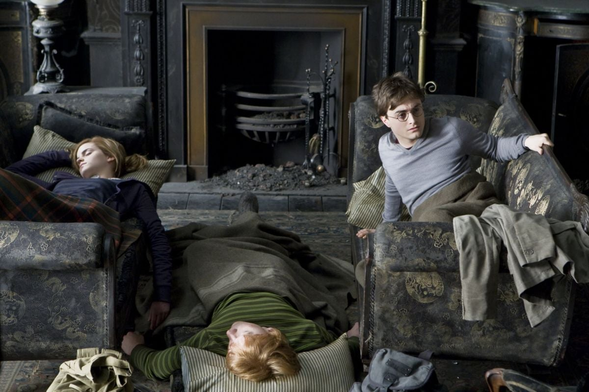 Harry, Ron, and Hermione asleep in the common room