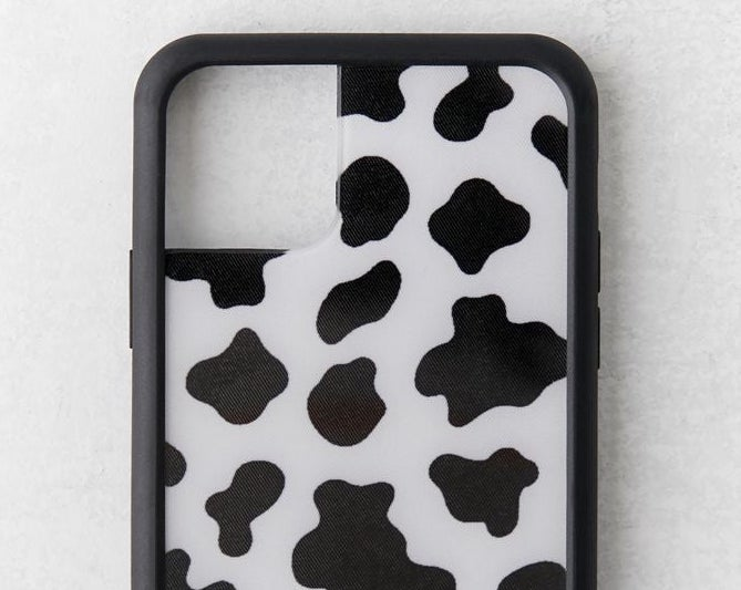 A cow print phone case