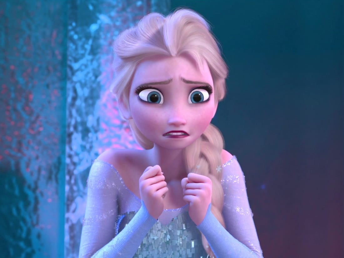 "Elsa has a nervous expression on her face in ""Frozen"""