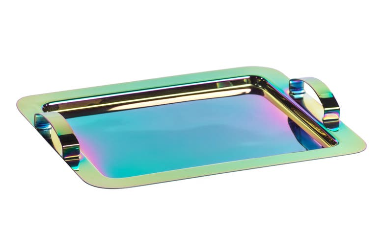 the metal tray with handles on both sides and an iridescent rainbow coloring to it