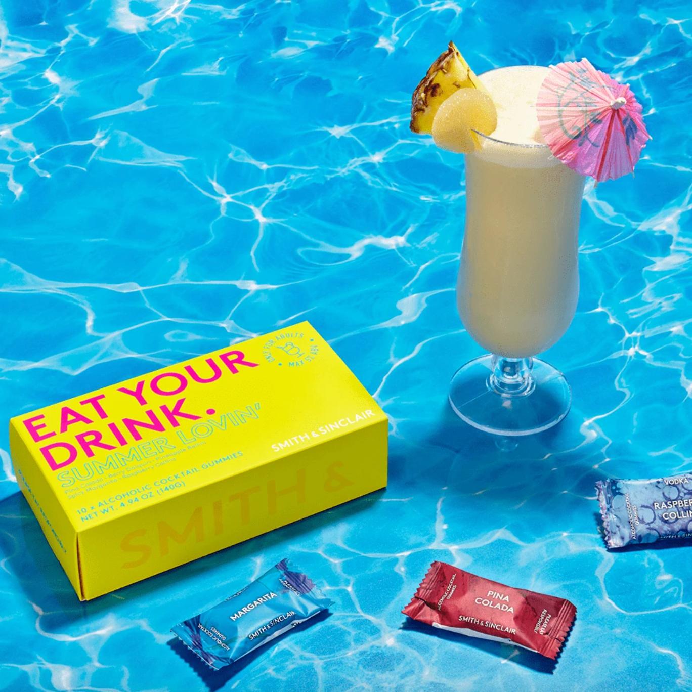 box of summer lovin themed cocktail gummies
