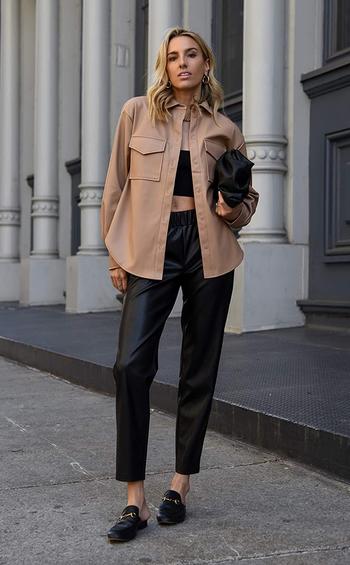 same model in the tan jacket