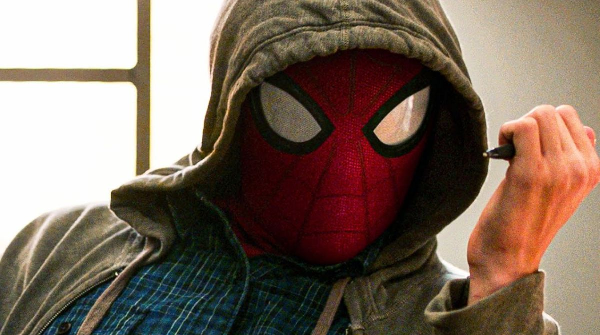 A man wearing a hoodie and a spider mask