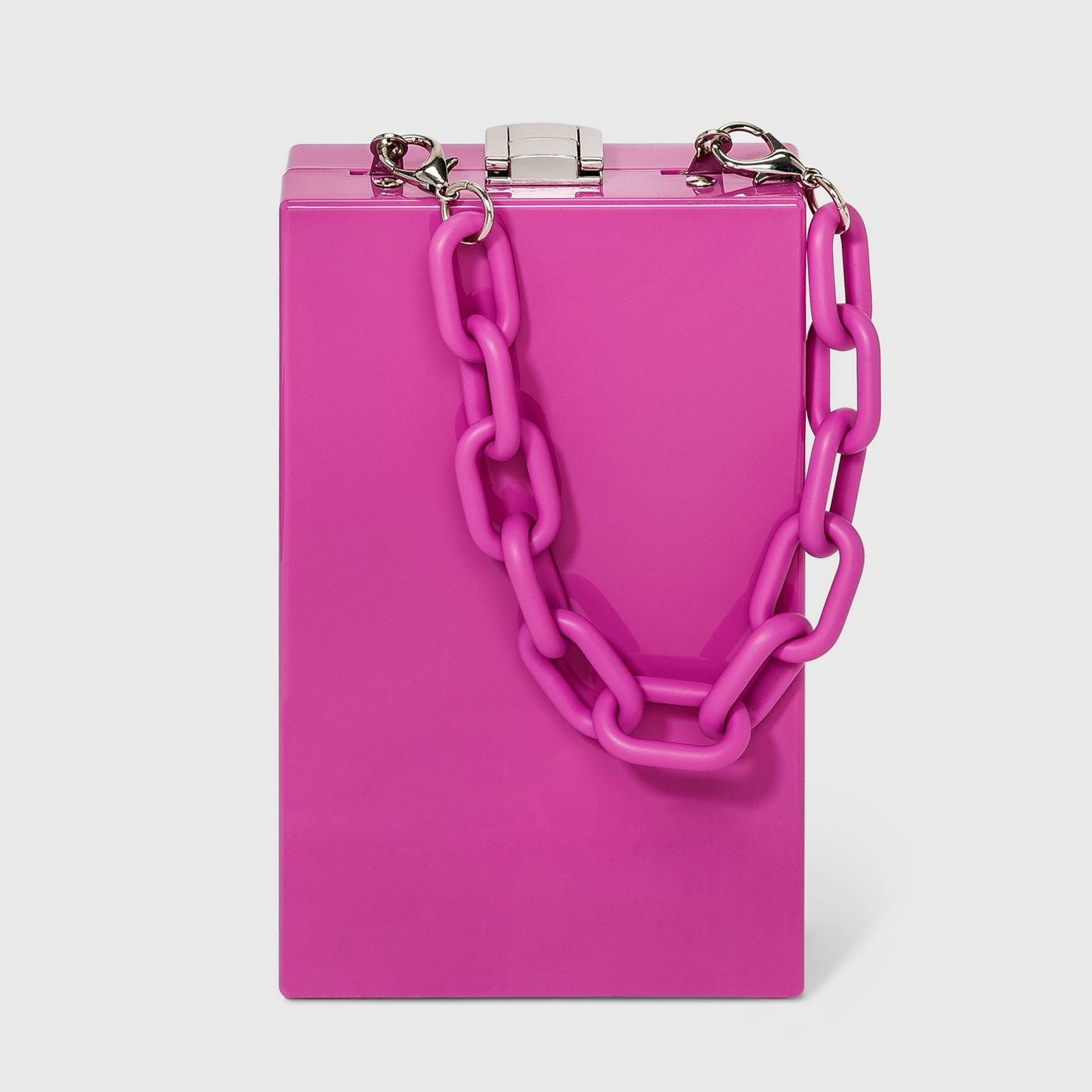 rectangular purse in bright pink with pink chain handle and silver clasp