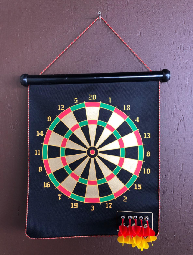 The dart board on a reviewer's wall