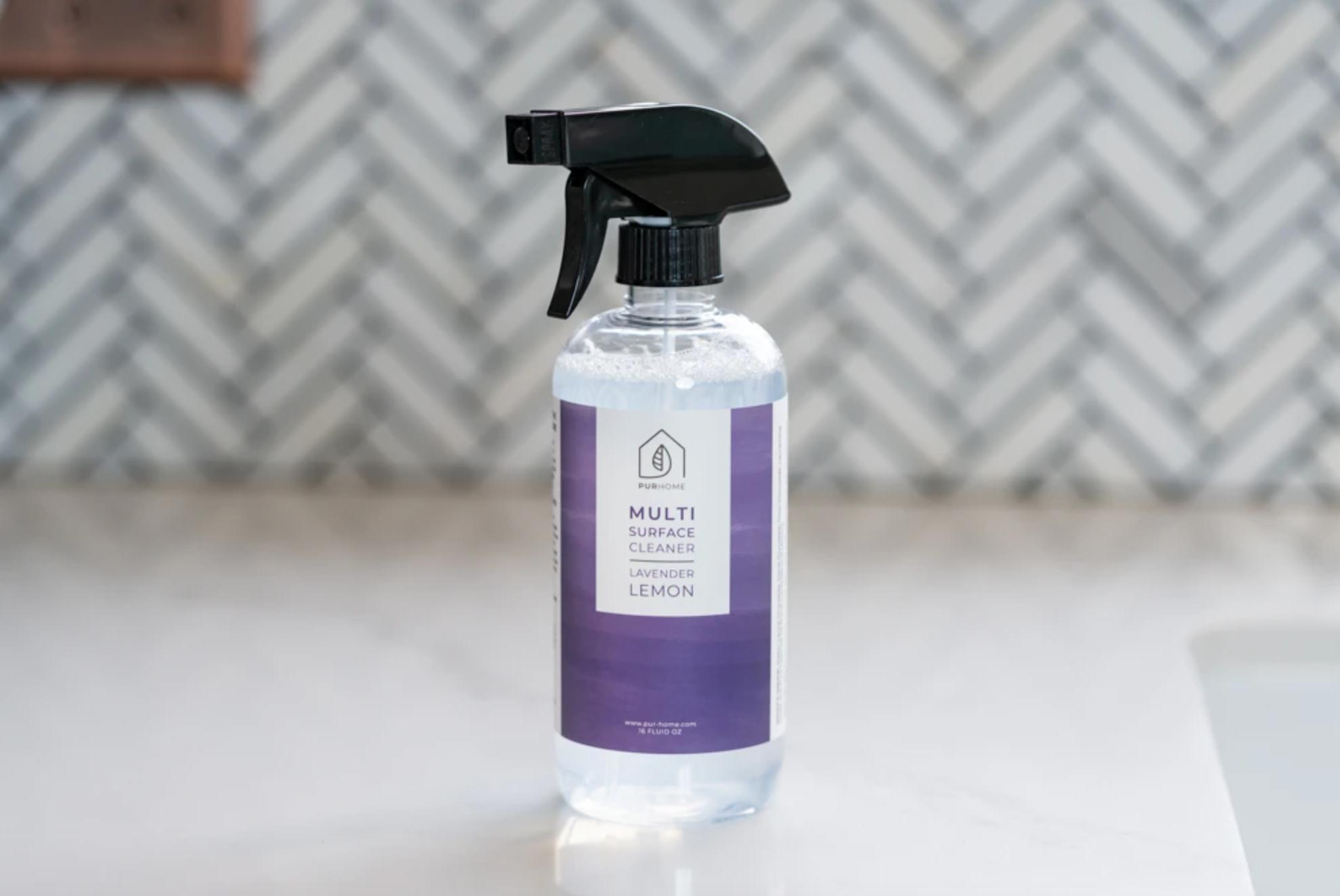 The spray bottle of lavender lemon cleaner