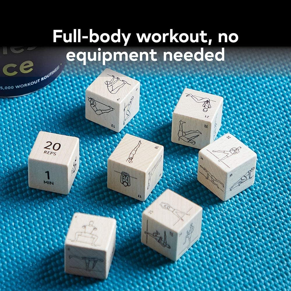 dice rolled out on mat with different exercises, reps, and time