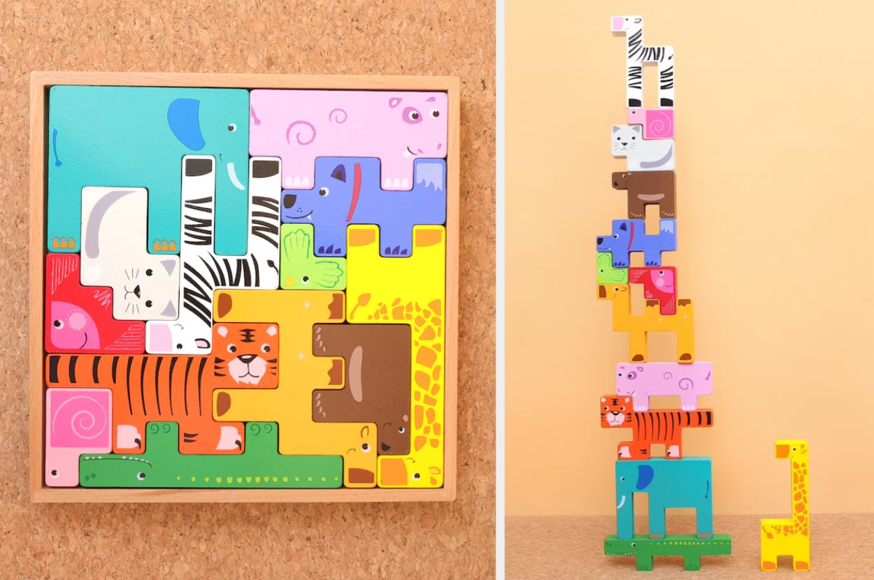 Split image of animal stacking toys in a puzzle box and stacked atop each other