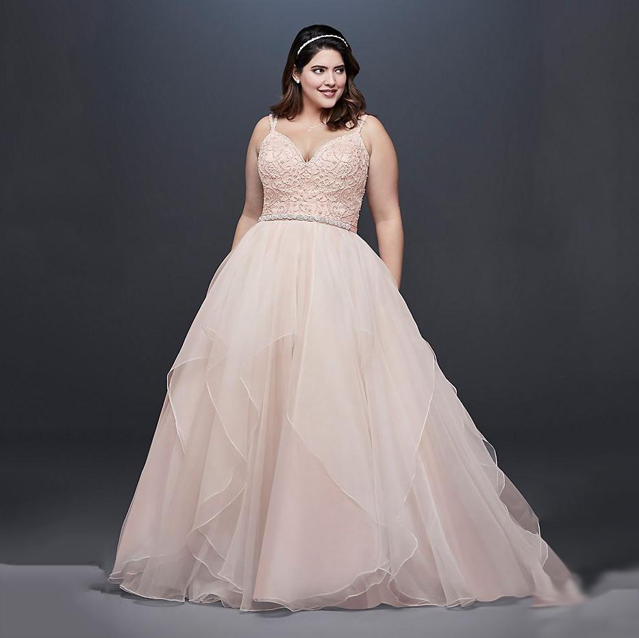 Garza Plus Size Wedding Dress with Double Straps