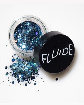 glittery dark blue and light blue glitter in circle container