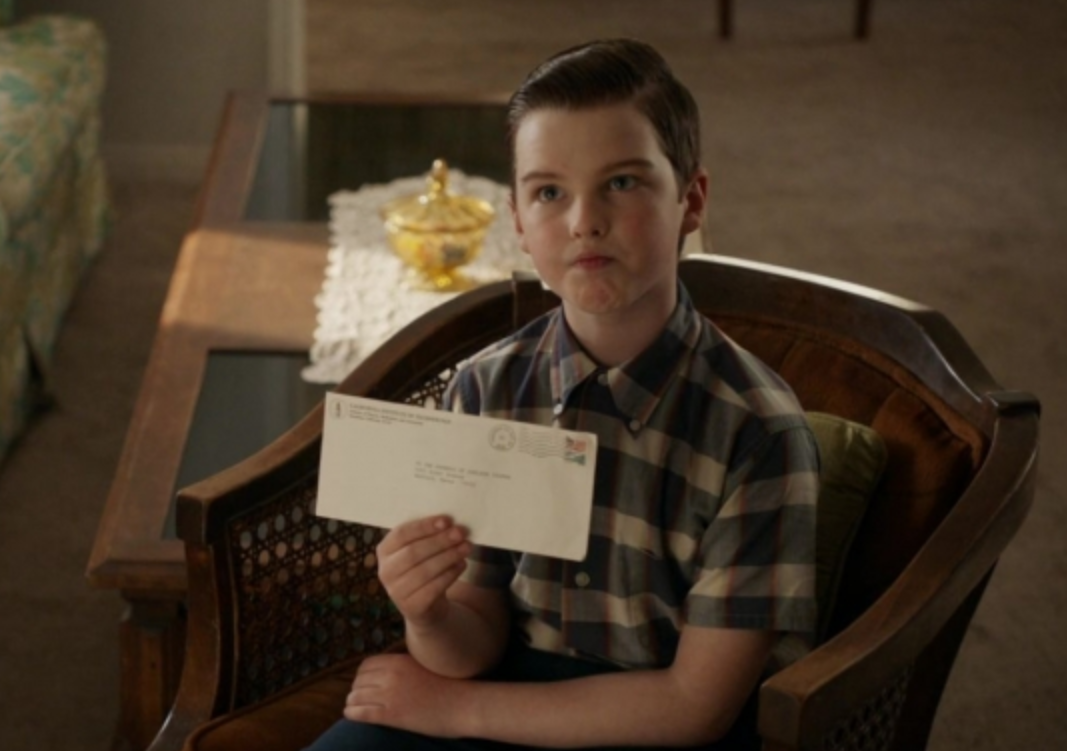 "Iain Armitage as Sheldon Cooper in the show ""Young Sheldon."""