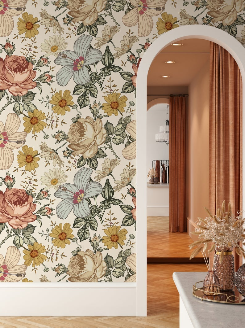 the colorful floral wallpaper in a home