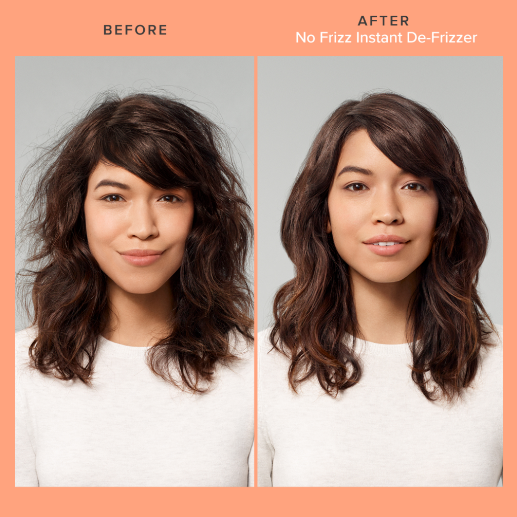 model with frizzy hair before using the spray compared to their hair looking smooth and shiny after using the spray