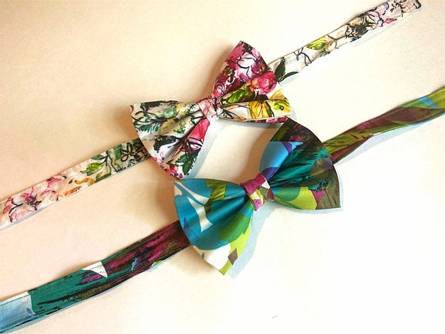 floral bow tie set with green, pink, and yellow colors