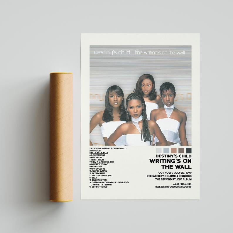 poster of the destiny's child album cover with a song list and some other details about the album, such as release date and record label