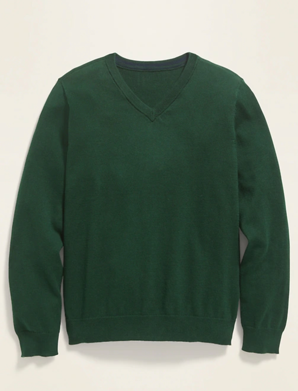 a forest green v-neck sweater