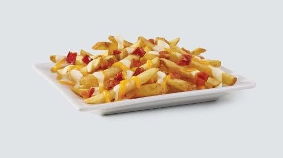 Fries with beer cheese sauce, shredded cheese, and bacon bits