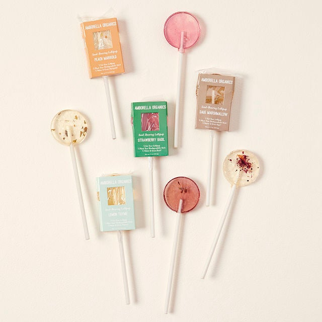 circular lollipops with flower bits inside