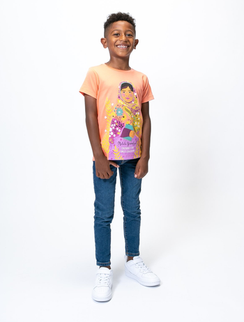 another model wearing a shirt featuring malala