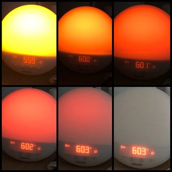Reviewer photo showing the sunset feature of the clock