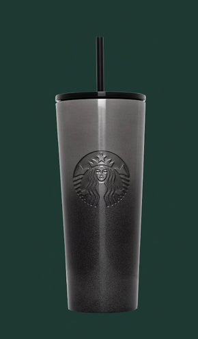 A tall, dark-colored reusable Starbucks cup with a black and gray gradient design with glitter on it