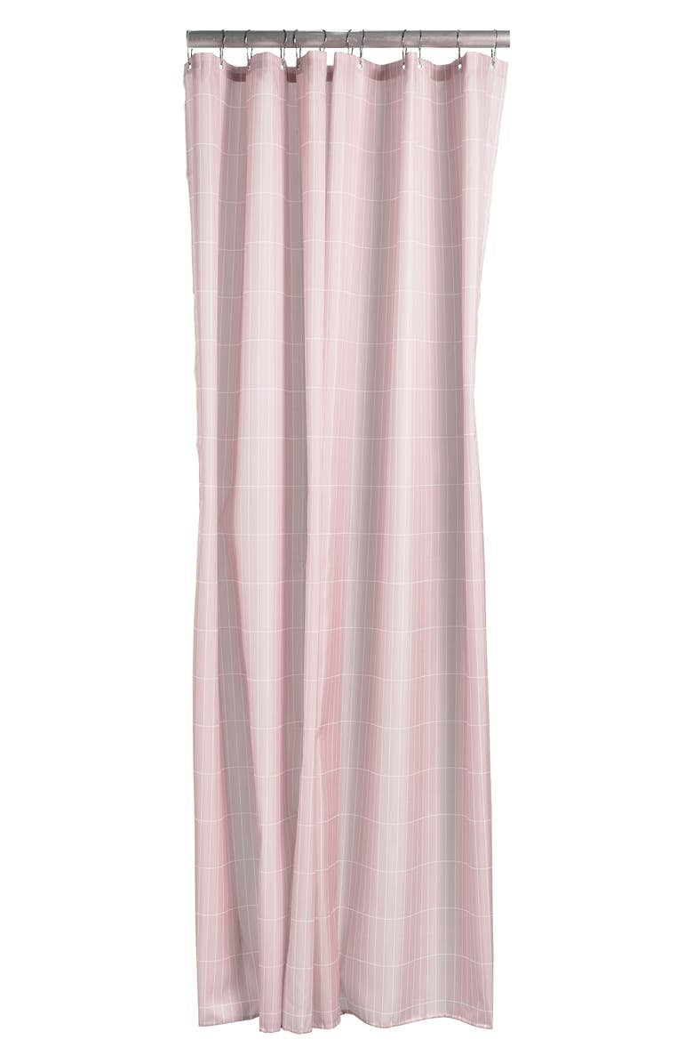 pink shower curtain with white grid design